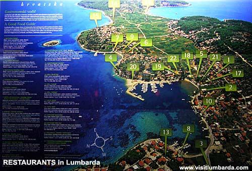 Map of Lumbarda Restaurants