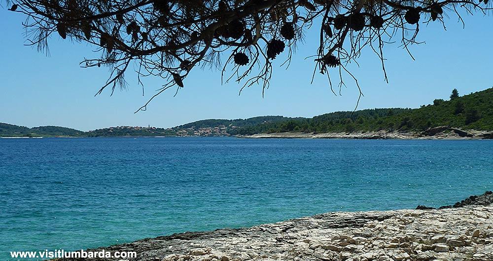 Views over Lumbarda from Badija beach